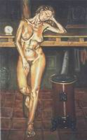 Painting, oil on canvas- Isabel with stove. 70 x 35 cm