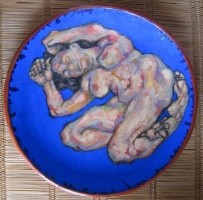 Oils on hand-made Moroccan clay platter for bread. 44 cm diameter (17 inches)