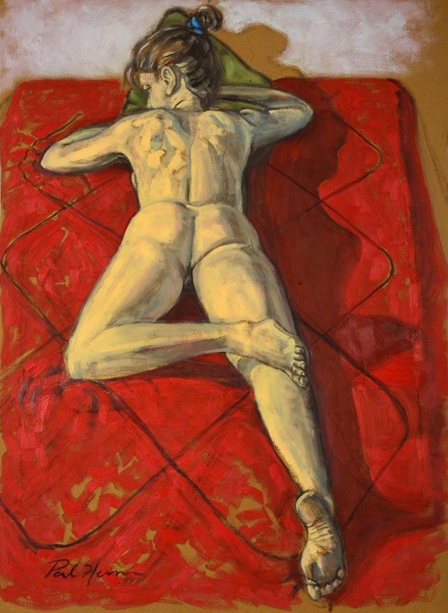 Nude on red bed