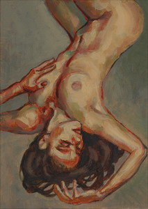 Upside-down nude. Oils on panel 7 x 5 inches (18 x 12 cm)