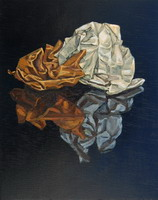 Crumpled paper- oils on wooden panel 10 x 8 inches