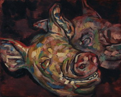Pig heads. Oils on panel 8 x 10 inches
