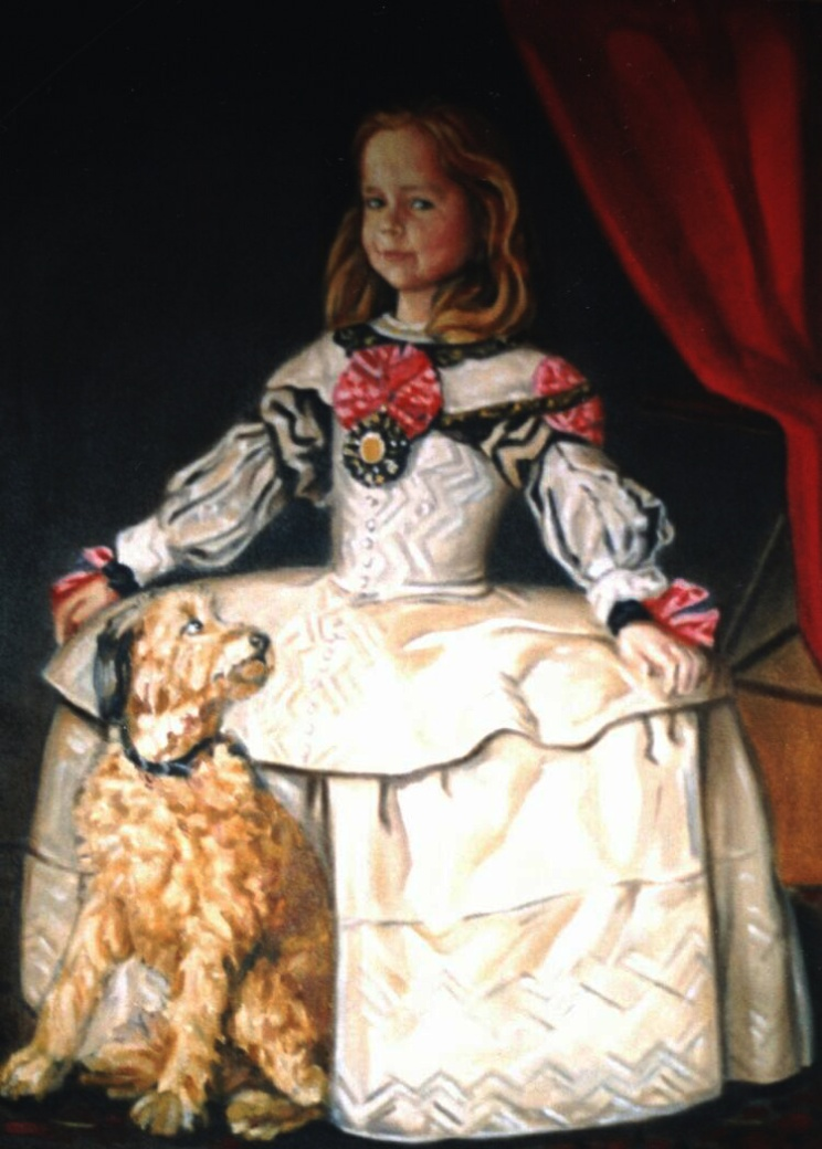 Portrait: Oil on canvas. Baroness Von Pfetten´s children as Meninas, each with one of the family dogs.