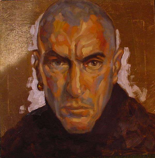 Portrait: Oil on board. Self portrait on gold leaf ground with shaved head, 50 x 50cm (19 x 19in) 2004.