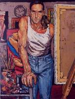 Painting, oil on canvas- Self portrait, 2001. 100 x 70 cm
