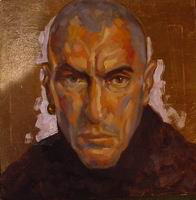 Painting, oil on board-Self portrait on gold leaf ground, 2004. 45 x 45 cm