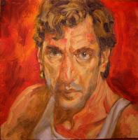 Painting, oil on board- Self portrait, 2003. 45 x 45 cm