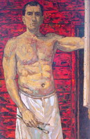 Painting, oil on canvas- Self portrait, 2005, Thailand. 120 x 80 cm