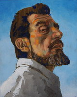 Self portrait, Sept 09. Oil on panel 10 x 8 inches (25 x 20 cm)
