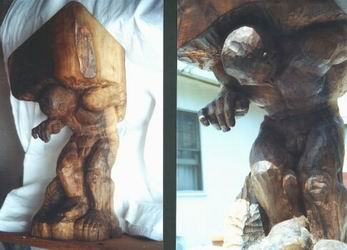 Sculpture- Sysiphus carved of black walnut root, 60 cm tall.