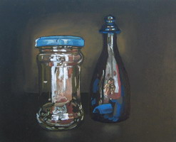 Jam Jar & self-portrait Oils on panel 8 x 10 inches