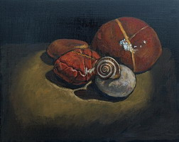 Snail on Stone- oils on wooden panel 8 x 10 inches
