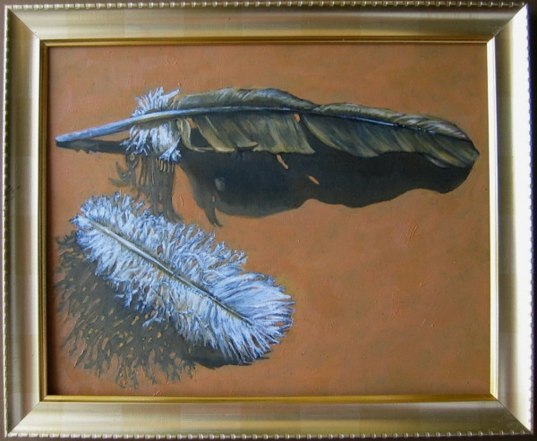 Feathers, oils on board