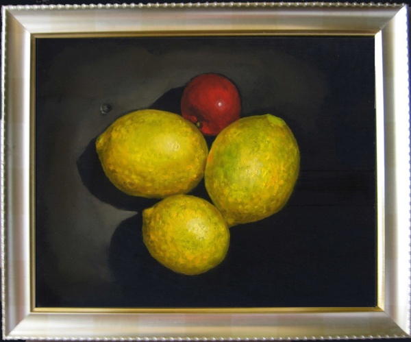 Lemons & plum, oils on board 8 x 10 inches (20 x 26 cm)