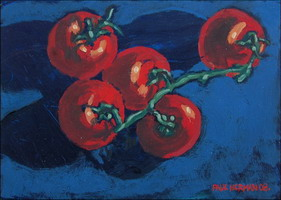 Tomatoes, oils on panel 5 x 7 inches