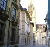 Oviedo's main Cathedral from a back street