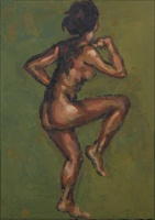 Nude dancer. Oils on panel 7 x 5 inches
