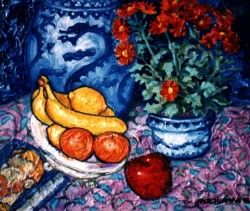 Painting, oils on canvas. Still life with dragon vase.  65 x 90 cm (26 x 36 in)