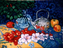 Painting, oils on canvas. Still life with silver teapot.  50 x 70 cm (20 x 28 in)