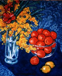 Painting, oils on canvas. Still life with tangerines.  80 x 50 cm (31 x 20 in)