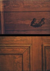 Two samples (above & below) of faux bois with painted moulding & drawer handle.