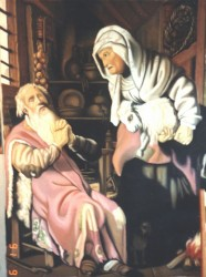 2 paintings, pastels on paper. Early Rembrandt, Abraham sacrificing his son & 'Tobit & the Kid'  210 x 100 cm (83 x 39 in)