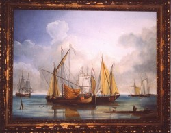 Two paintings, oils on canvas. 18th century English shipyard. Eeach 80 x 100 cm (31 x 39 in)