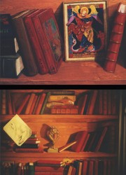 At the top a copy of a beautiful little Russian St George, next to Winnie the Pooh. Below, a variety of details including a Roman statuette, a drawing by Rafael Sanzio & a bullfighting postcard between the books.