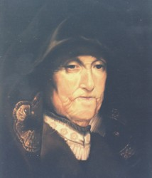 Painting, oils on canvas. Copy of a painting Rembrandt did of his mother.  200 x 100 cm (79 x 39 in)