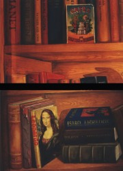 Above, art books & an antique postcard advertising Carribean coffee. Below, The Mona Lisa in a perspective I found difficult to emulate (to give it a convincing sense of receding into the depths of the imaginary shelf). At the top of the stack, a book I invented with my girlfriend's name & a likeness done from a photograph of her dancing Flamenco.