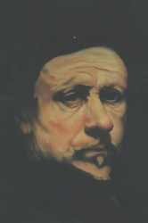Painting, pastel on paper. Rembrandt self-portrait.  150 x 90 cm (59 x 35 in)