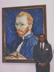 Oils on canvas. Van Gogh, to the left the Oslo self portrait