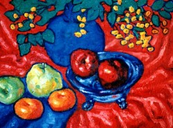 Painting, oils on canvas. Still life with red apples. 50 x 70 cm (20 x 28 in)