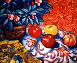 Painting, oils on canvas. Still life with pomegranate.  60 x 80 cm (24 x 32 in)