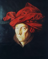Painting, oils on paper. Copy of a self portrait by Van Eyck. Van Eyck is often cited as the inventor of oil paints because of his experiments with 'stand oil' a refinement process of linseed oil that made it dry without cracking & thereafter supplanted egg tempera because of its delicate transluscent layers  160 x 100 cm (63 x 39 in)