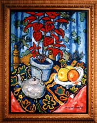 Painting, oils on canvas. Still life with teapot & red plant.  70 x 50 (28 x 20 in)