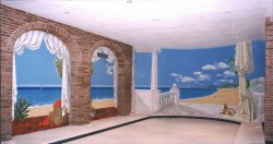 An indoor swimming pool (covered, bottom center) painted on three windowless walls to brighten the room up.