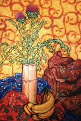 Painting, oils on canvas. Still life with thistle & monkey.  100 x 70 cm  (39 x 28 in)