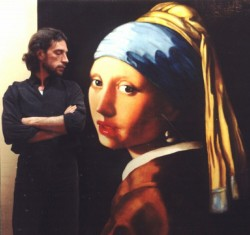 Painting, oils on canvas. Girl with Pearl Earring by Vermeer. Painted in glazes--many translucent layers applied over months gave the canvas an inner luminosity