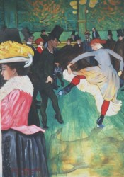Painting, oils on canvas. Toulouse Lautrec- Dance at the Moulin Rouge. Re-composed slightly for the dimensions the client required. To the right, the same painting re-composed more drastically for a client who wanted a vertical composition. 100 x 160 cm (39 x 63 in)