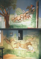 In this room, which houses a sauna & Jacuzzi, I painted a continuous mural around all four walls of the Grand National steeplechase. Acrylics with a tough waterproof varnish to survive the humid atmosphere.