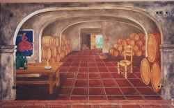 The second wall creates the illusion of a deep series of rooms filled with wine barrels. The painted floor imitates the real floor as a continuation of it.