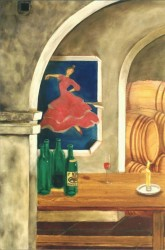 A painted Flamenco poster at the tasting table