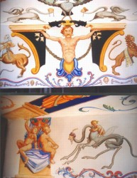 Grotesqueries painted with acrylics on the ceiling above a Jacuzzi that looked out from its bay window over the Mediterranean about three & a half meters by one & a half. To the right, two details
