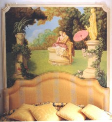 Mural on canvas installed with plaster moulding as headboard for the bed in the master bedroom. Composition made up of elements of both Boucher & Fragonard's paintings
