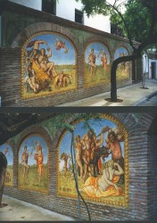 A bachanal painted in acrylics in six exterior arhes