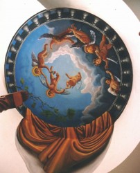 Sky with cherubs on a cupola of a bathroom ceiling