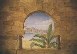 A trompe l'oeil stone wall with view of the Mediterranean