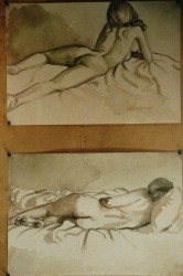 Watercolour wash on paper. Two drawings of Isabel, the one on top, watching television, inspired the painting on the 'Nudes' page. Each  50 x 65 cm (20 x 26 in)