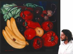 Oils on canvas. Big still life with painter. This painting was built up slowly in layers of glaze on a white canvas (normally all paintings begin on a canvas whose background is prepared in a colour) resulting in that seventeenth century jewel-like effect of luminous transluscency, difficult to appreciate in digital reproduction.  130 x 162 cm (51 x 64 in)